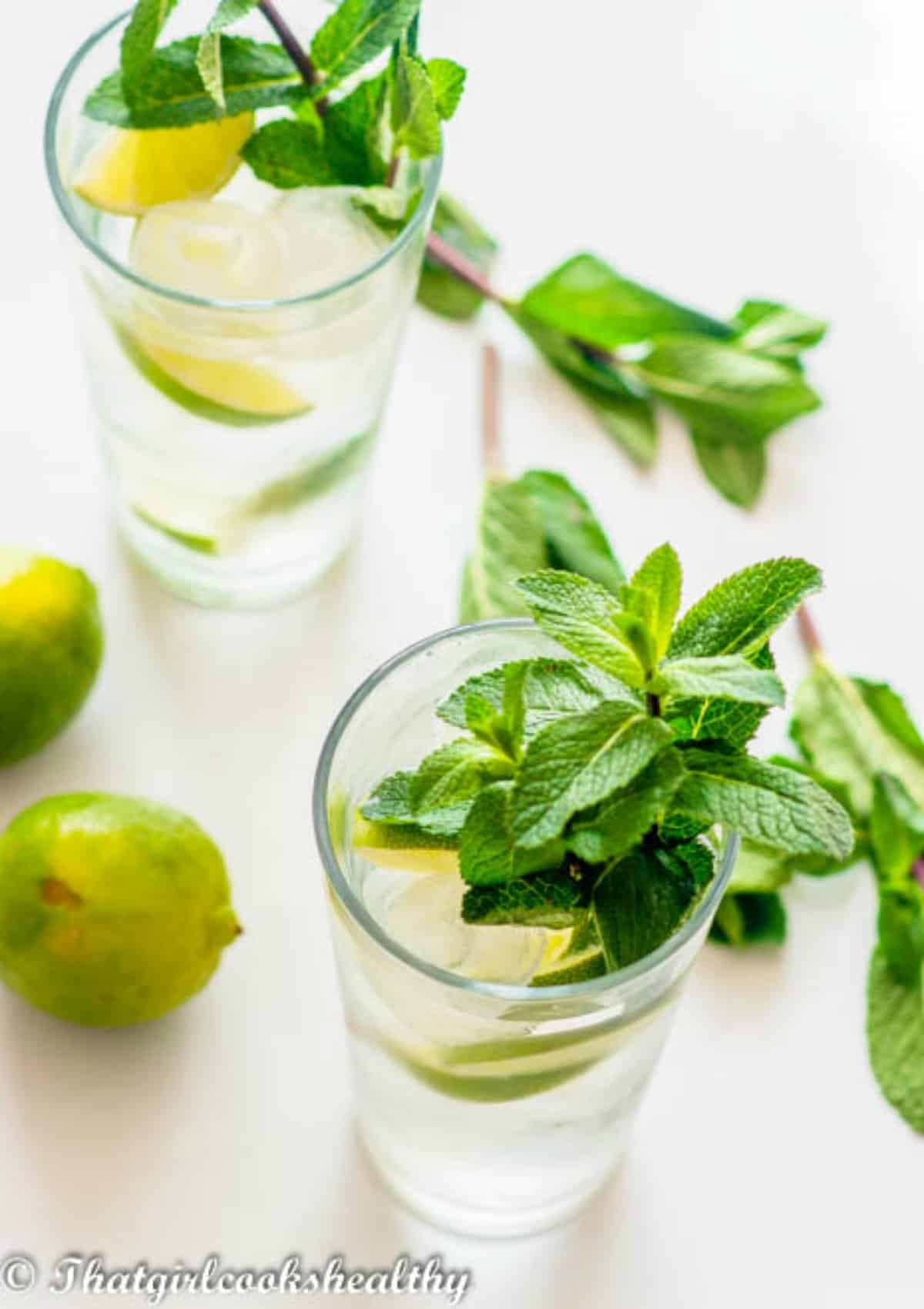Lime drink with fresh limes