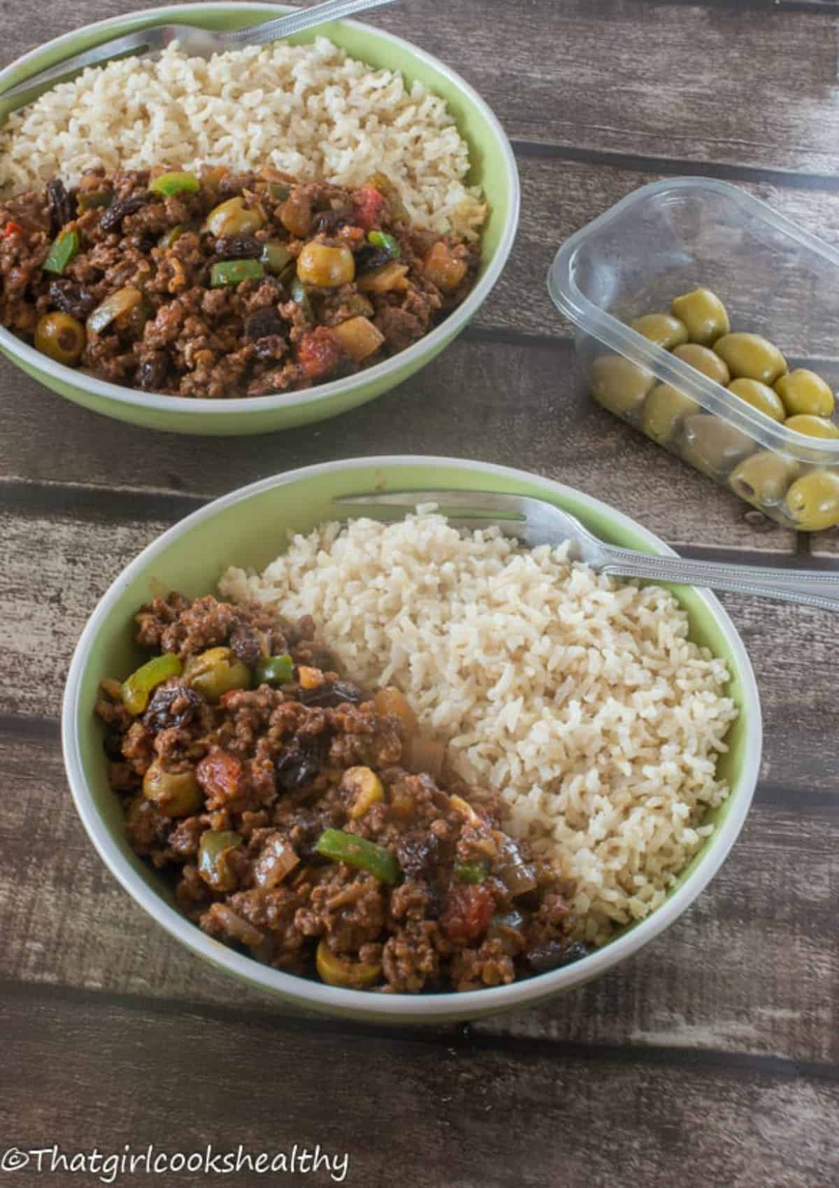 Two bowls of picadillo