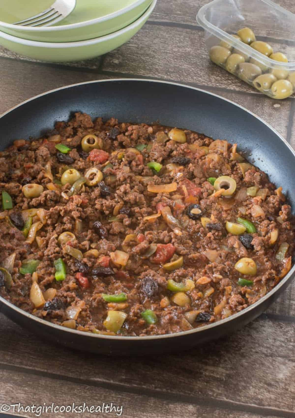 beef hash in a skillet