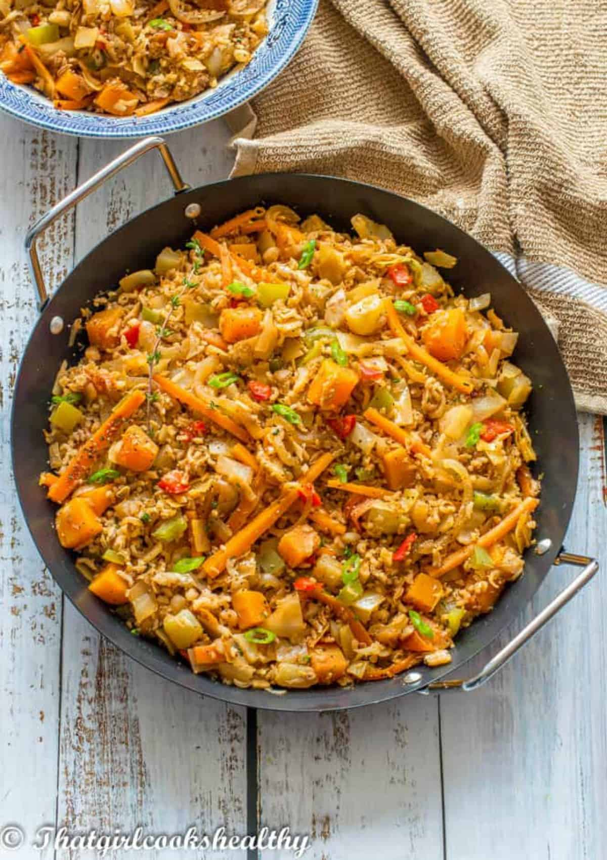 black pan with fried rice