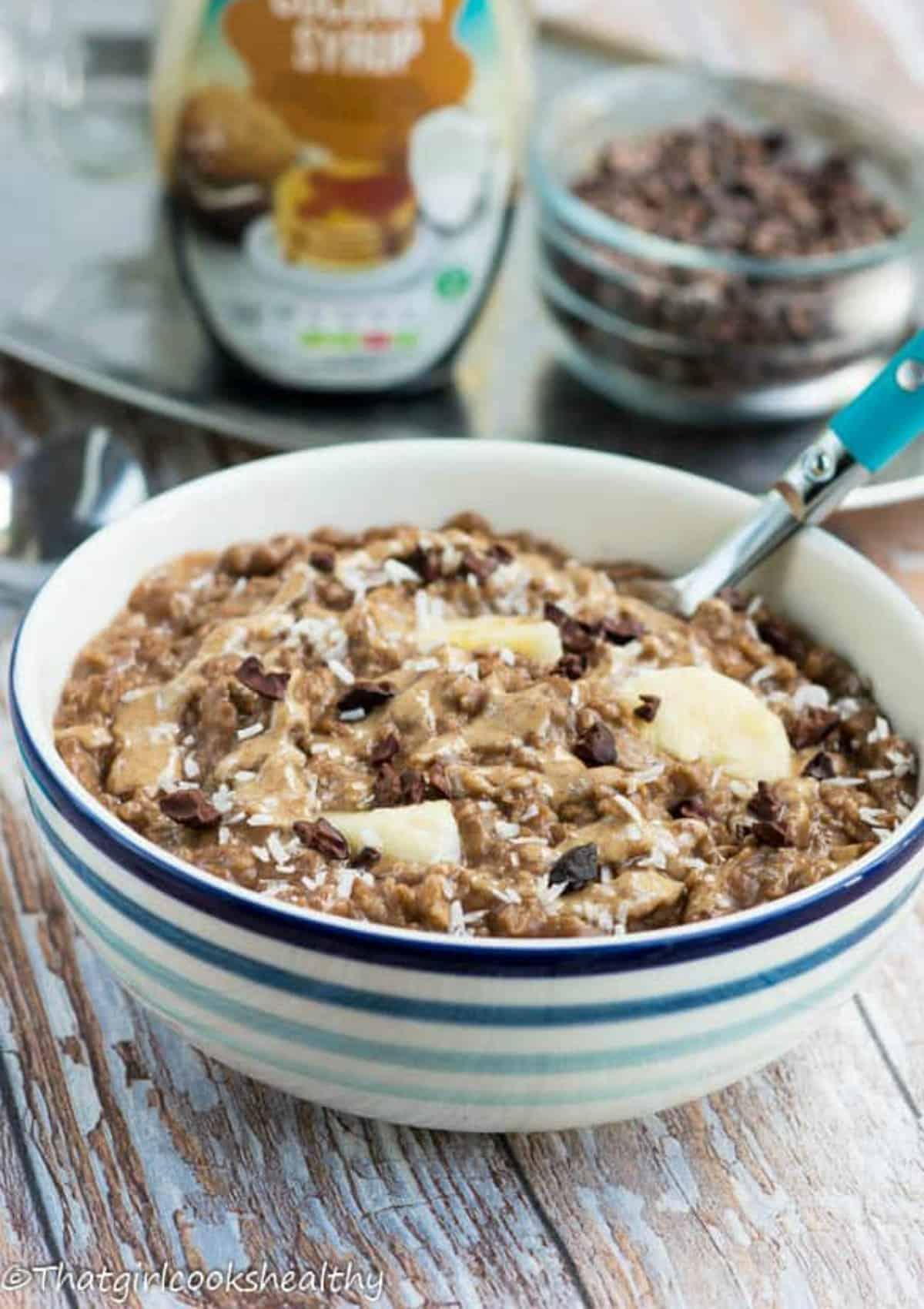 porridge with garnish on top