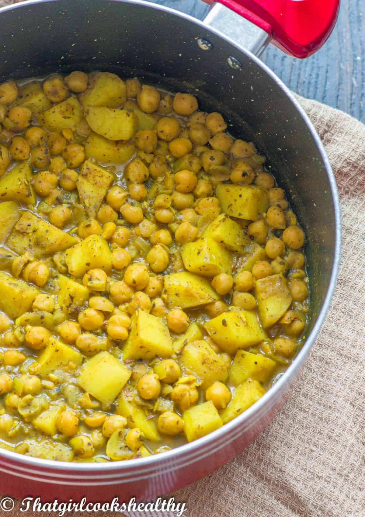 chickpeas and potato in a pot
