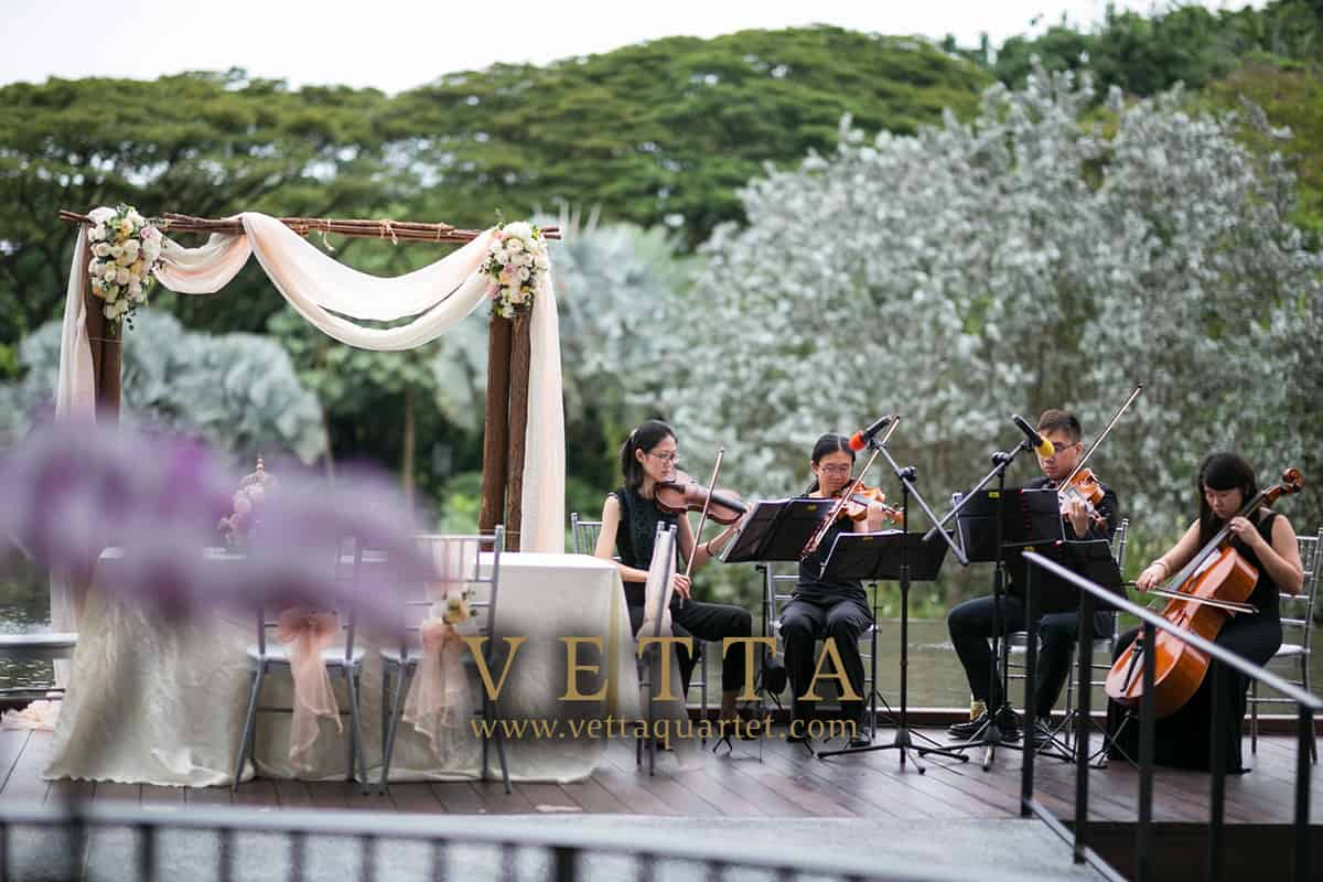 Graceful String Musicians playing for Solemnisation at Vineyard Hortpark Singapore