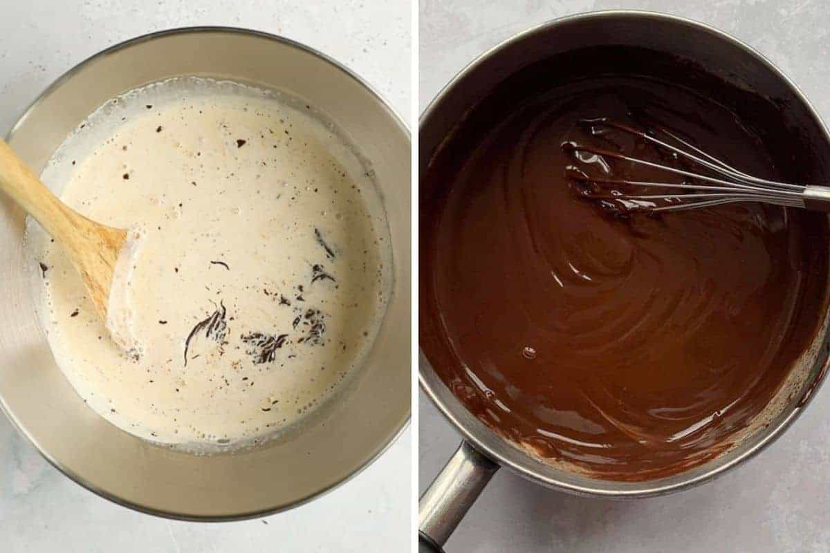 Two images side by side. First image is of a bowl of chopped dark chocolate that has had hot cream poured over the top. Second image is the finished dark chocolate ganache.