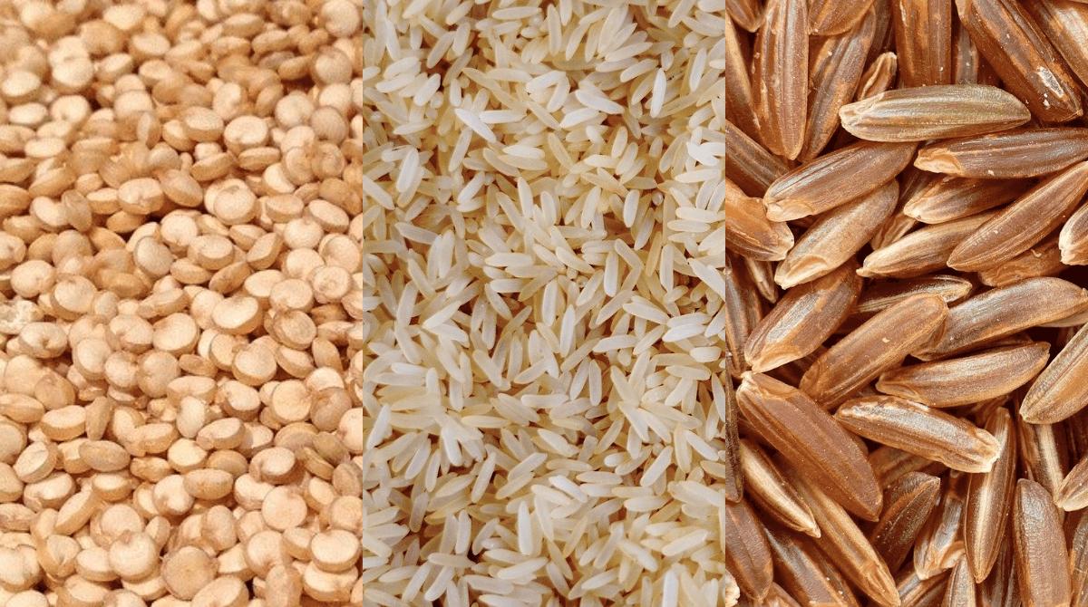 Ein Vergleich zwischen Quinoa, weißem und braunem Reis