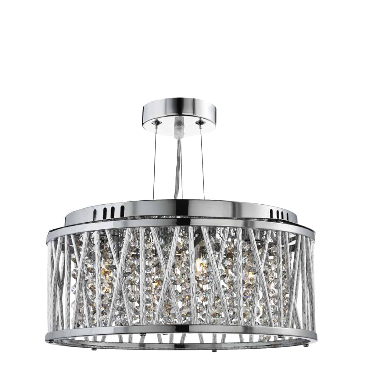 Searchlight 8333-3CC Elise Chrome 3 Light Fitting with Crystal Button Drops