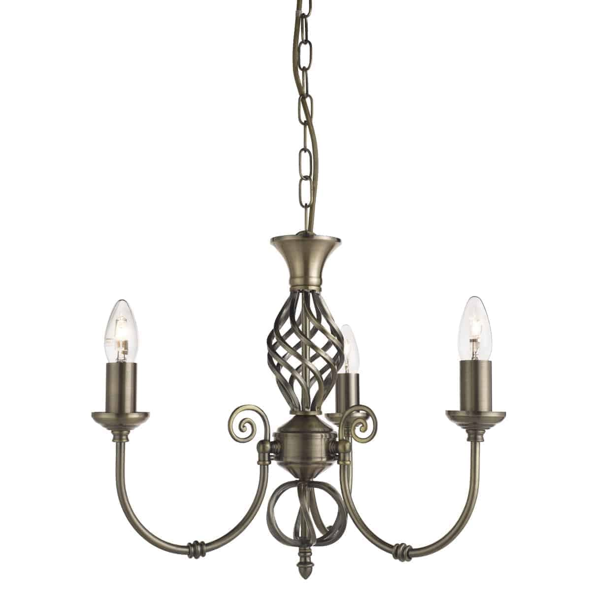 Searchlight 8393-3 Zanzibar Antique Brass 3 Light Fitting with Ornate Twisted Column