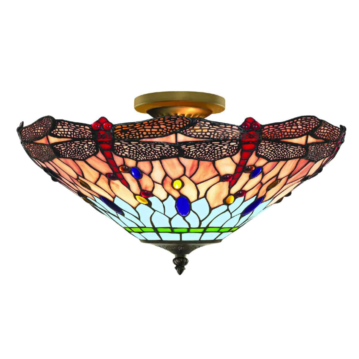 Searchlight 1289-16 Dragonfly Antique Brass 3 Light Semi-Flush with Handmade Tiffany Glass