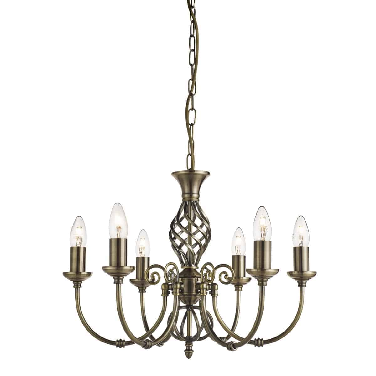 Searchlight 8396-6 Zanzibar Antique Brass 6 Light Fitting with Ornate Twisted Column