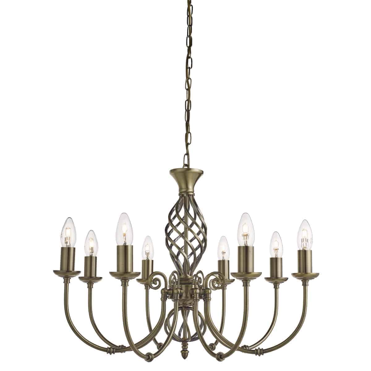Searchlight 8398-8 Zanzibar Antique Brass 8 Light Fitting with Ornate Twisted Column