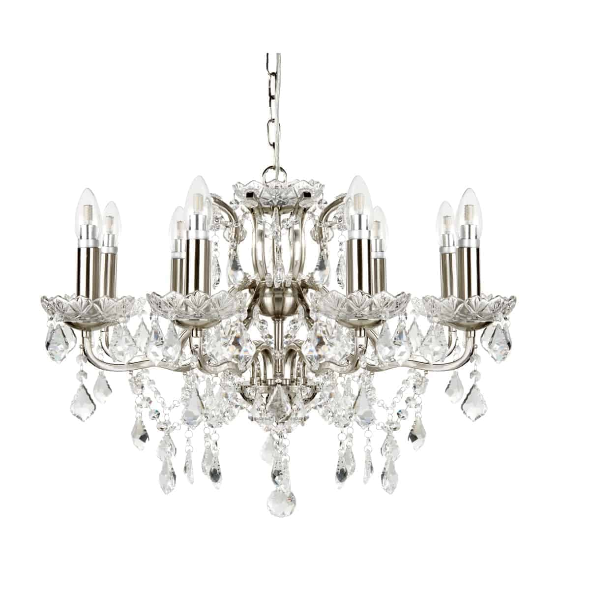 Searchlight 8738-8Ss 8 Light Satin Silver Chandelier With Clear Crystal Drops