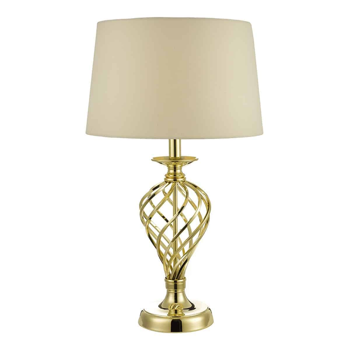 Där IFF4335 Iffley Large Table Lamp Gold complete with Cream Shade Touch