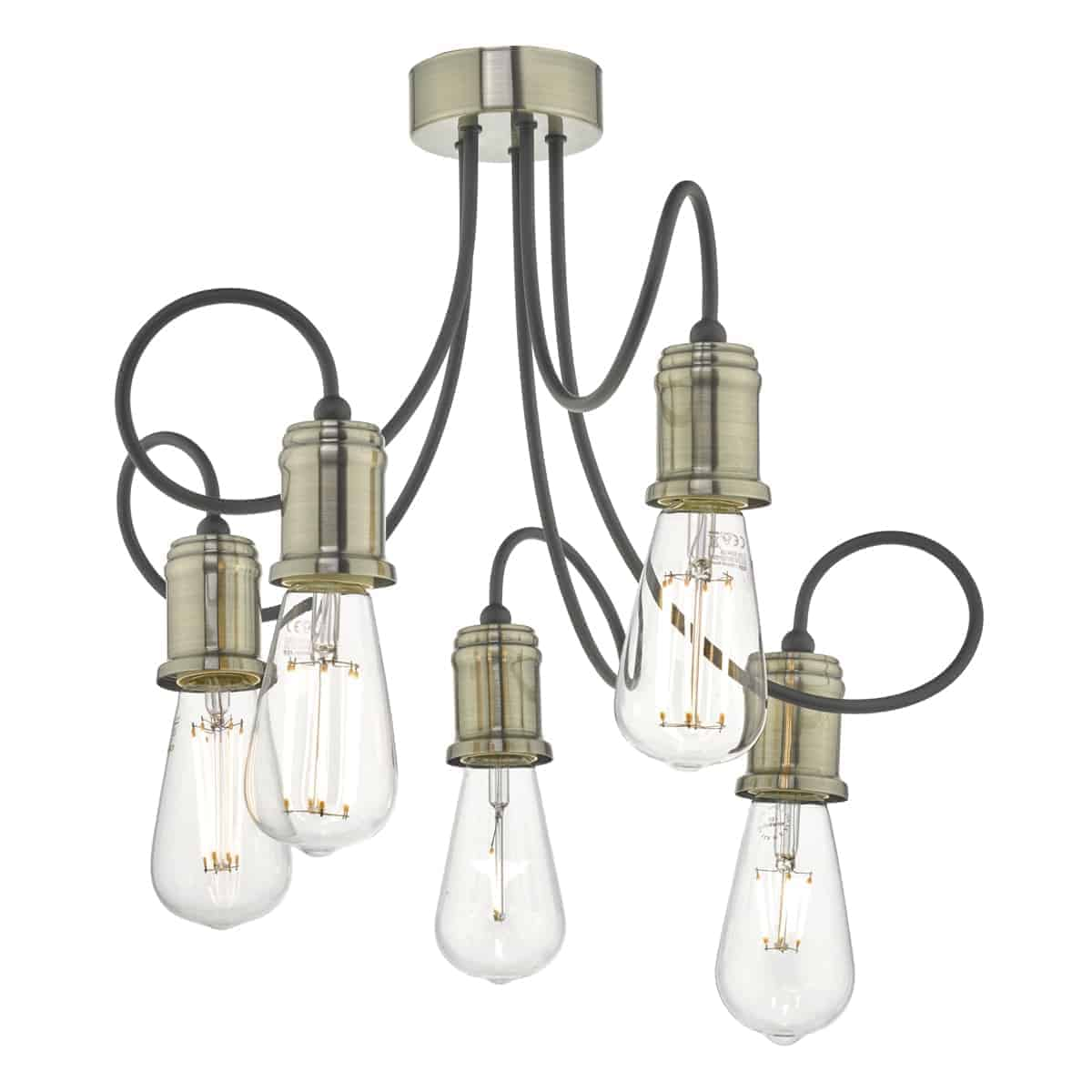 Där ALZ5475 Alzbet 5 light Semi Flush Antique Brass & Black