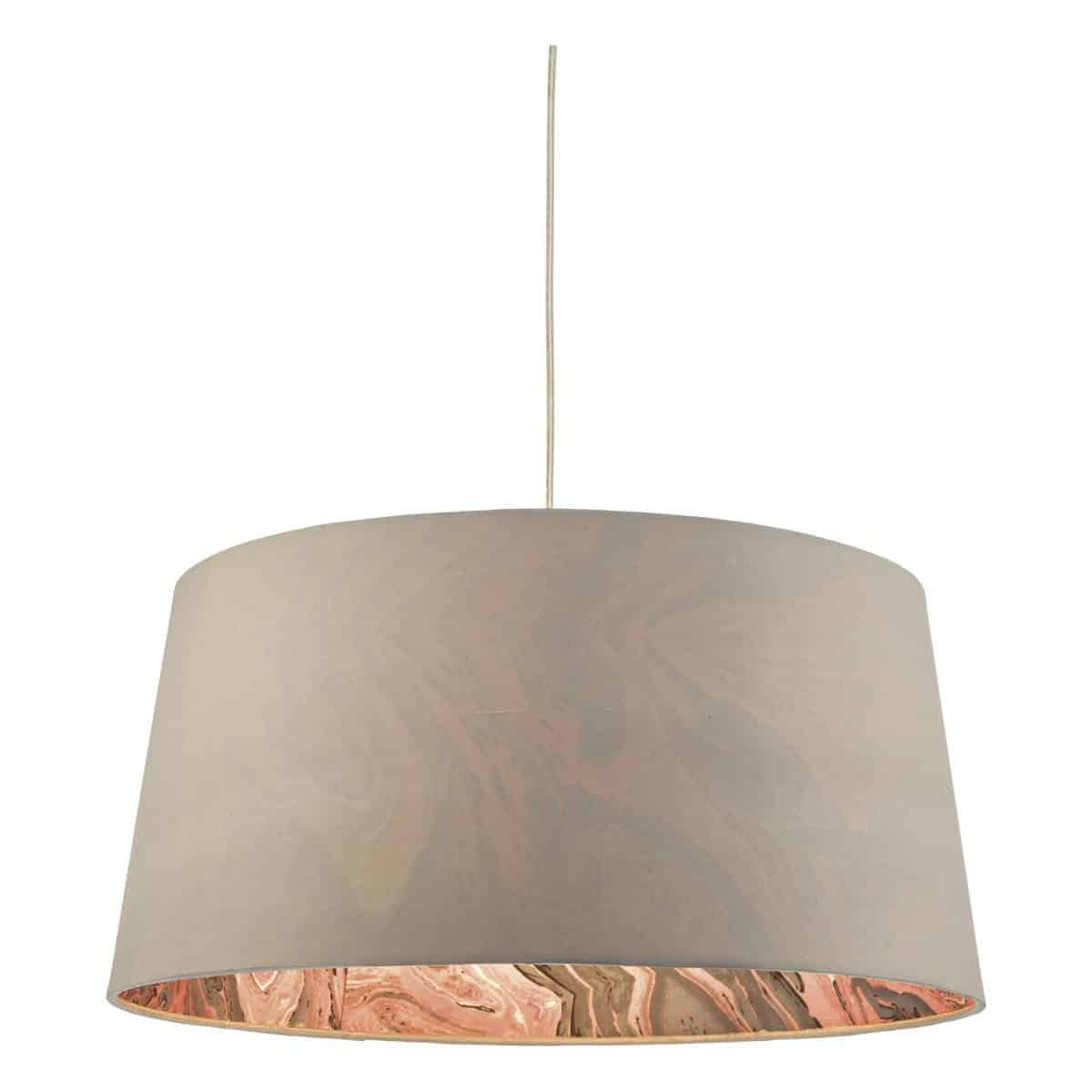 Där DOL6539 Dolores Easy Fit Pendant Faux Silk Grey with Coral Pink Marble Effect Interior