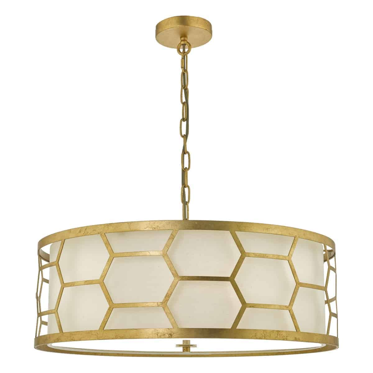 Där EPS0412 Epstein 4 Light Pendant Gold With Ivory Shade & Frosted Glass Diffuser