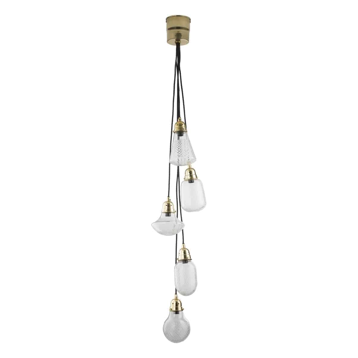 Där LAS0540 Lashira 5 Light Cluster Pendant Polished Brass & Glass Handmade in India