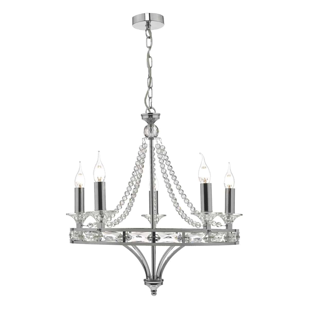 Där MAB0550 Mabry 5 Light Chandelier Polished Chrome & Crystal