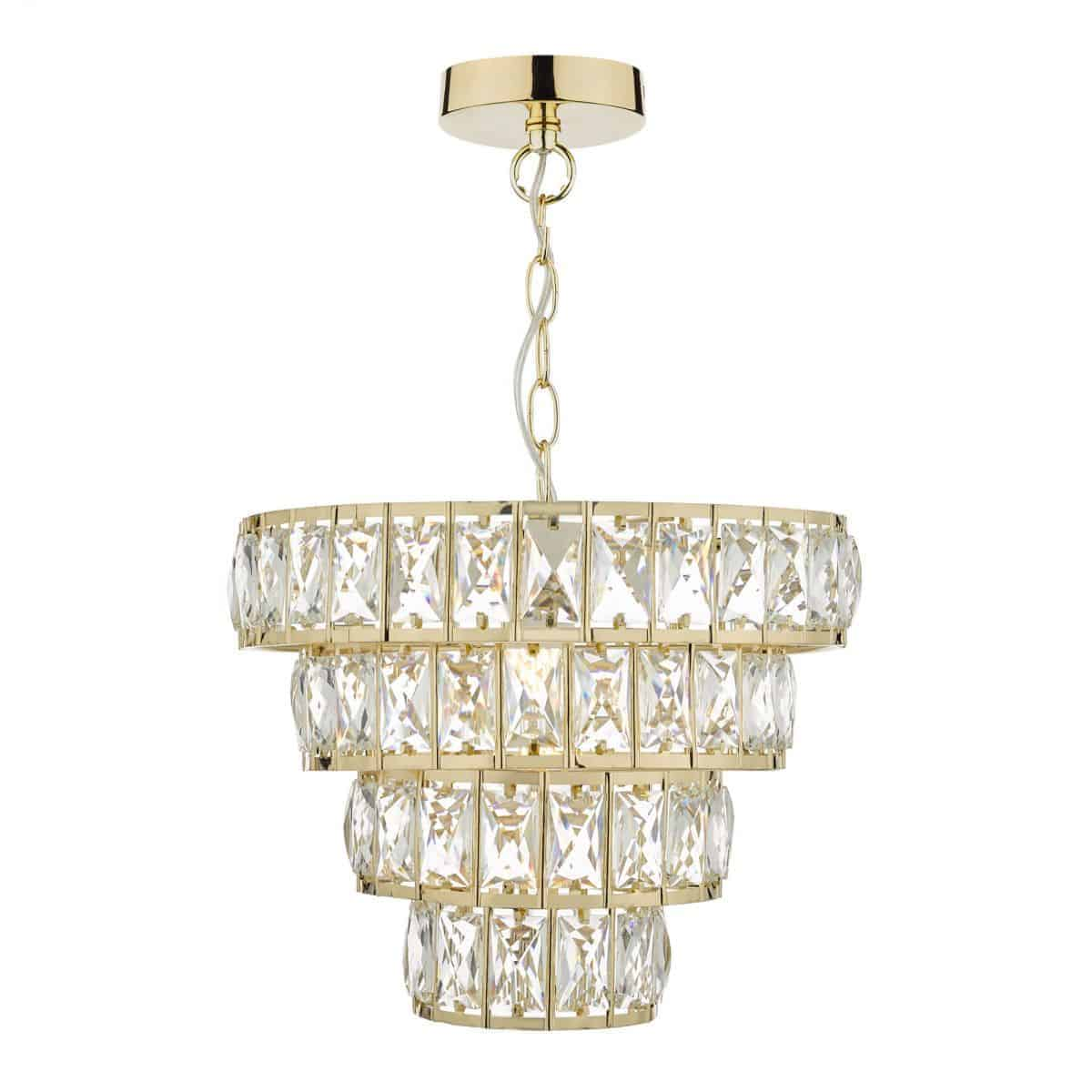 Dar CER0135 Cerys 1 Light 4 Tier Pendant Crystal & Gold