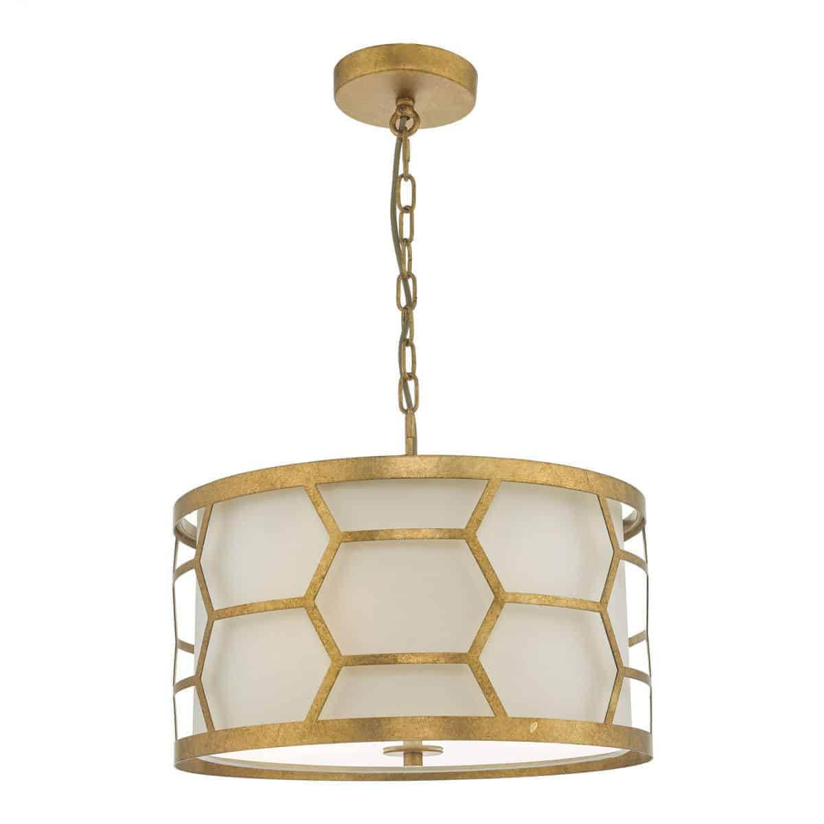 Dar EPS0312 Epstein 3 Light Pendant Gold & Ivory