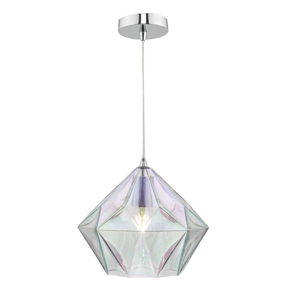 Dar GAI0150 Gaia 1Lt Pendant Polished Chrome & Glass