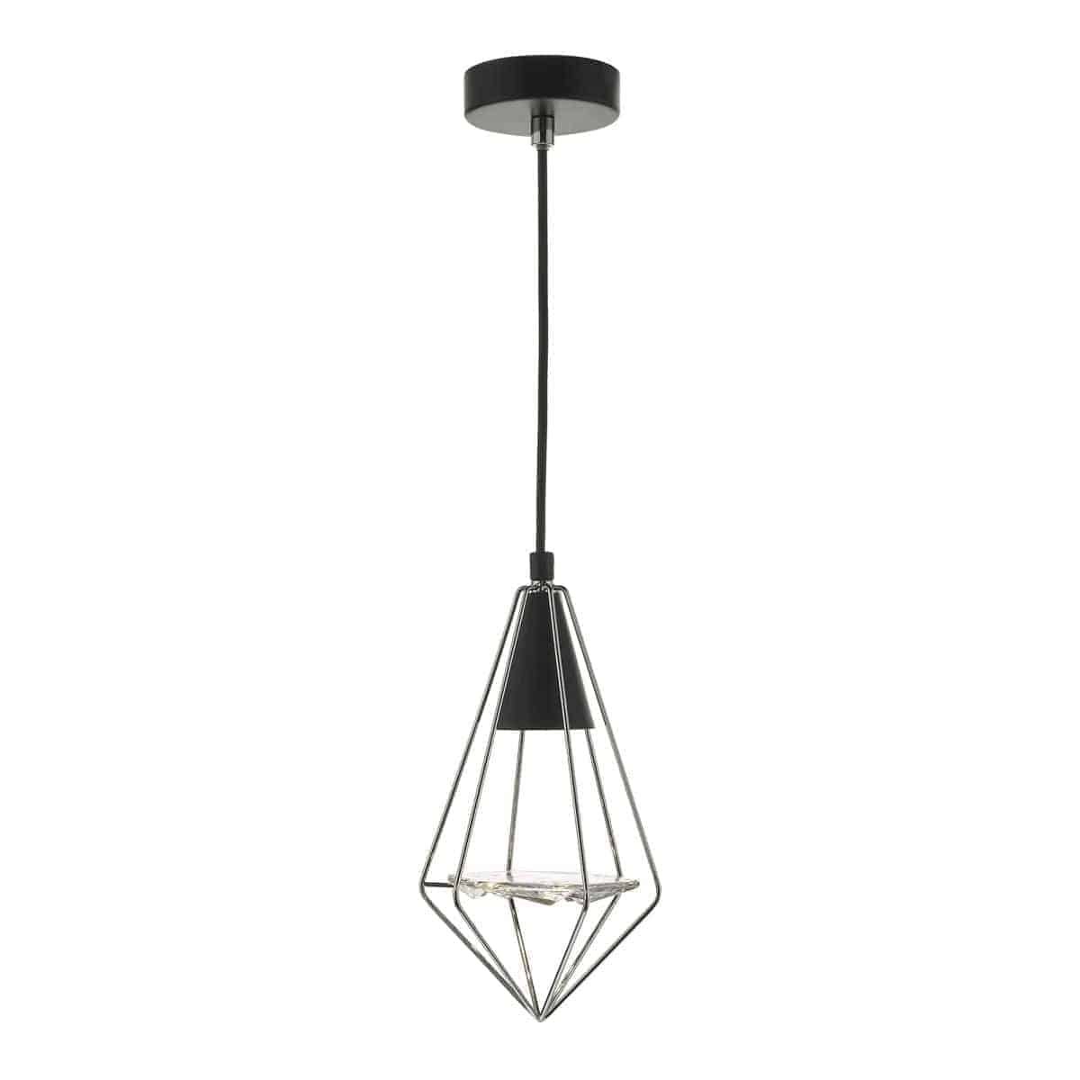 Dar GIA0150 Gianni 1 Light Pendant Black, Polished Chrome & Glass