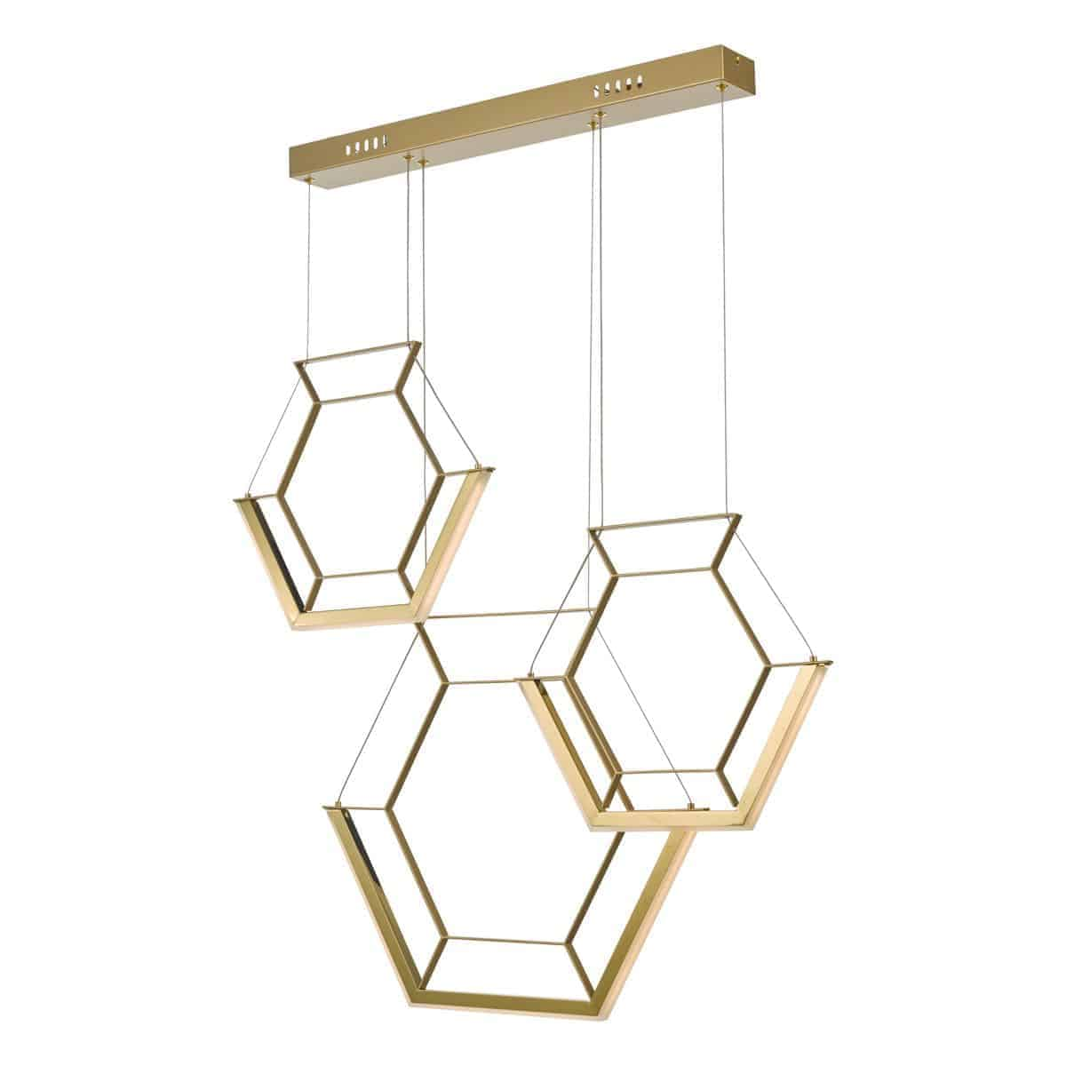 Dar HEX0335 Hexagon 3lt Pendant Gold LED