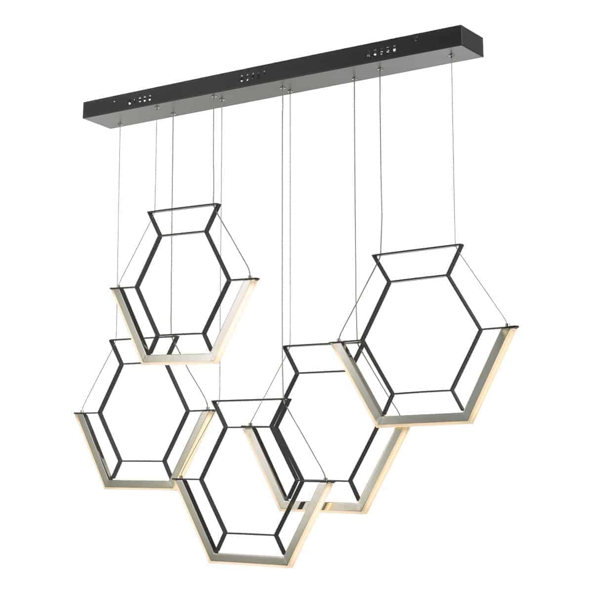 Dar HEX0522 Hexagon 5lt Pendant Black LED