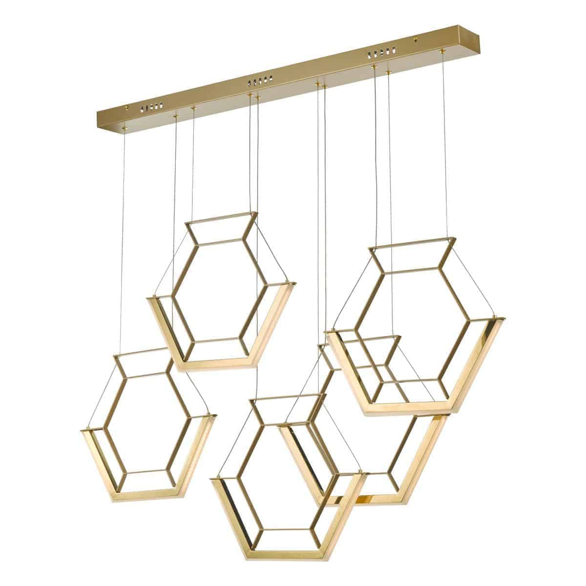 Dar HEX0535 Hexagon 5lt Pendant Gold LED
