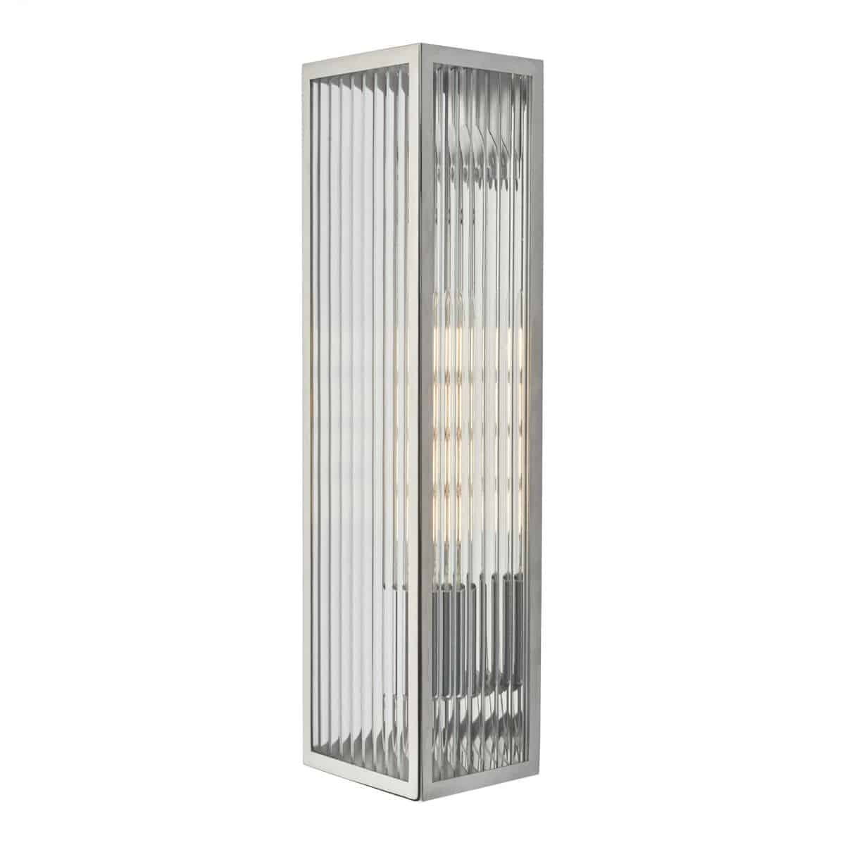 Dar KEE5044 Keegan 1 Light Wall Light Polished Stainless Steel IP44