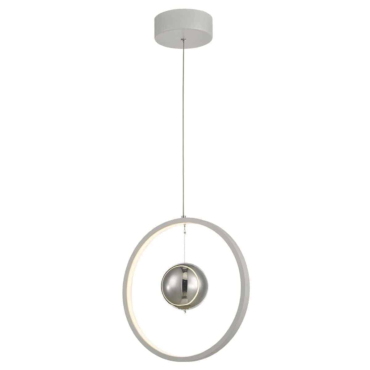 Dar MER012 Mercury 1lt Pendant Vertical White LED