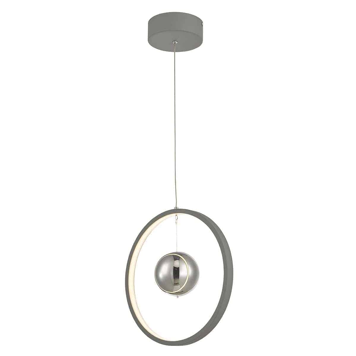 Dar MER0139 Mercury 1lt Pendant Vertical Grey LED