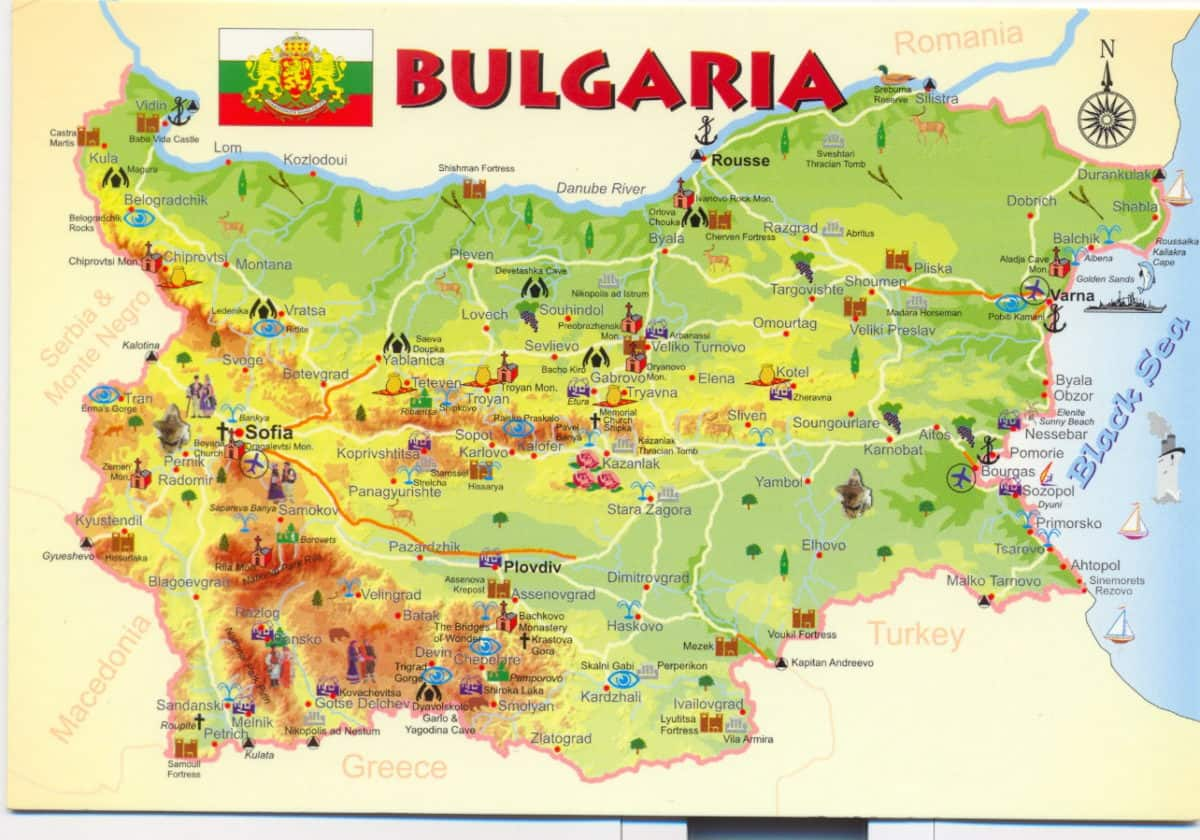 mapa de bulgaria turistico