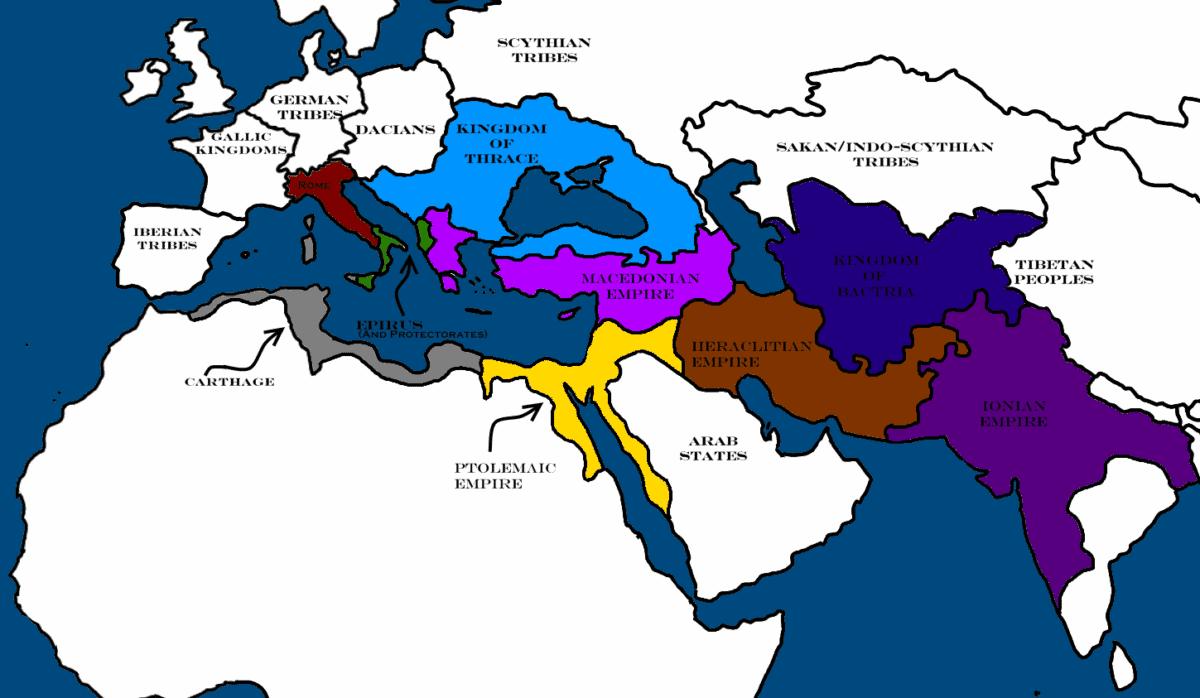 En color azul; territorio controlado por los Tracios en su apogeo