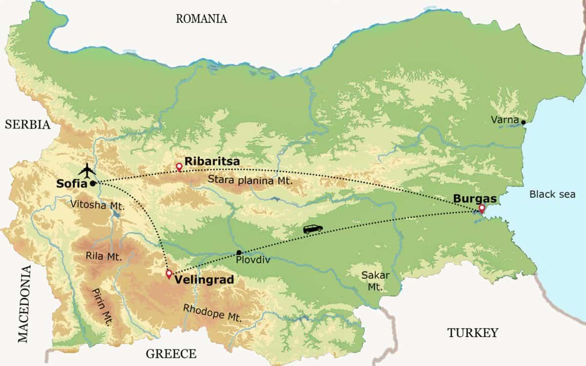 esquema del viaje de avistamiento de aves raras en Bulgaria