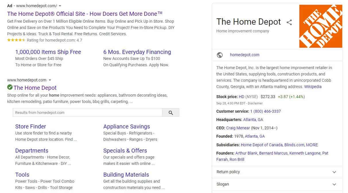 Example of structured content in Google search results