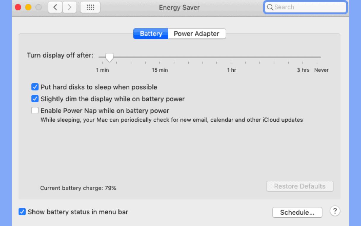 Kích hoạt Energy Saver
