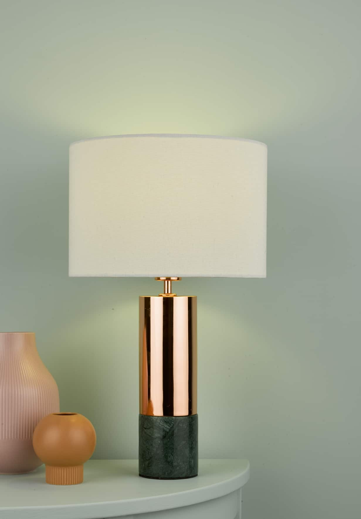 Där DIG4264 Digby Table Lamp Copper & Green With Shade