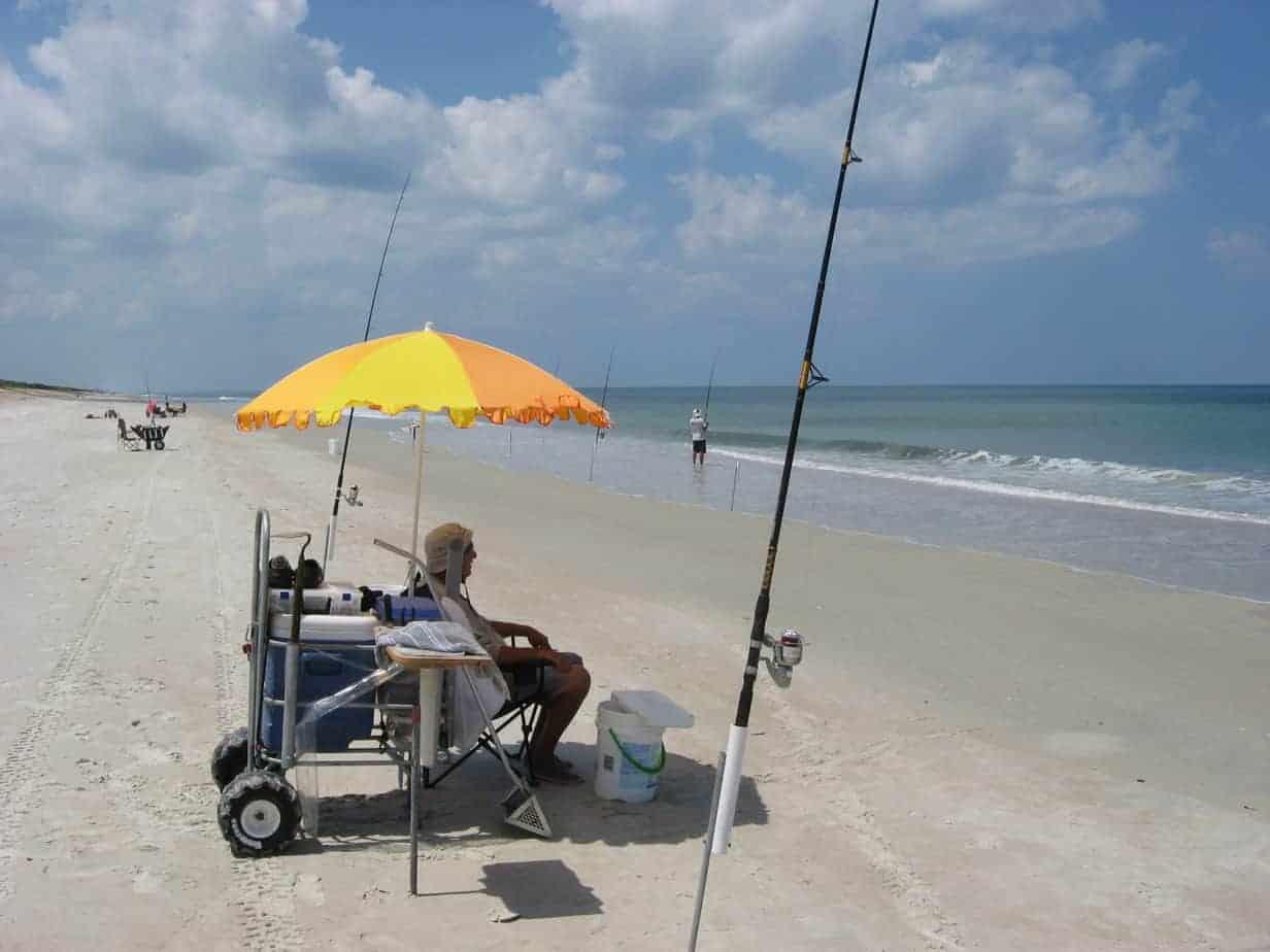 Surf fishing at Canaveral National Seashore