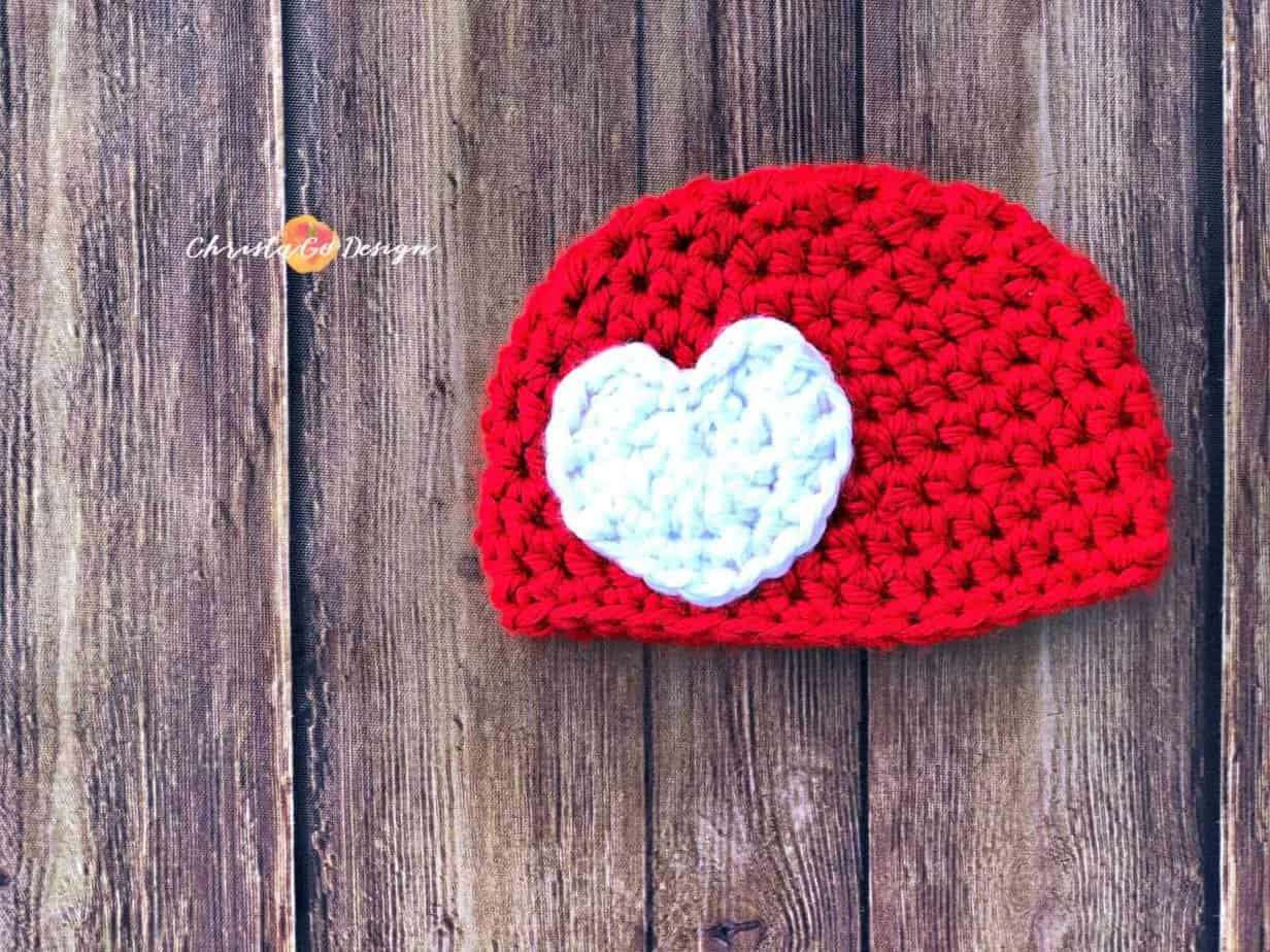 Chunky Crochet Heart Applique Free Crochet Pattern