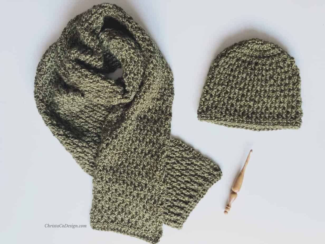 picture of Matteo set crochet textured scarf and matching beanie in green with handmade hook
