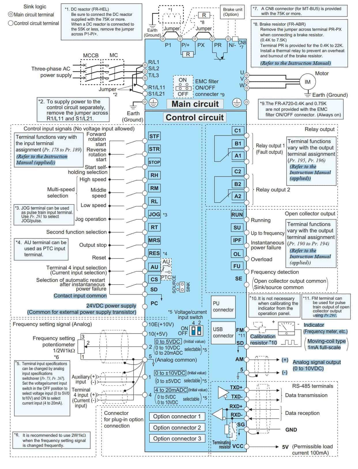 sơ đồ đấu dây biến tần FR-A700 series