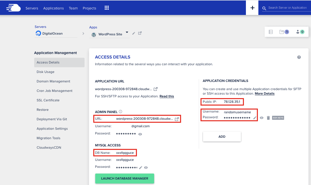 Cloudways Worpress Application Settings Overview