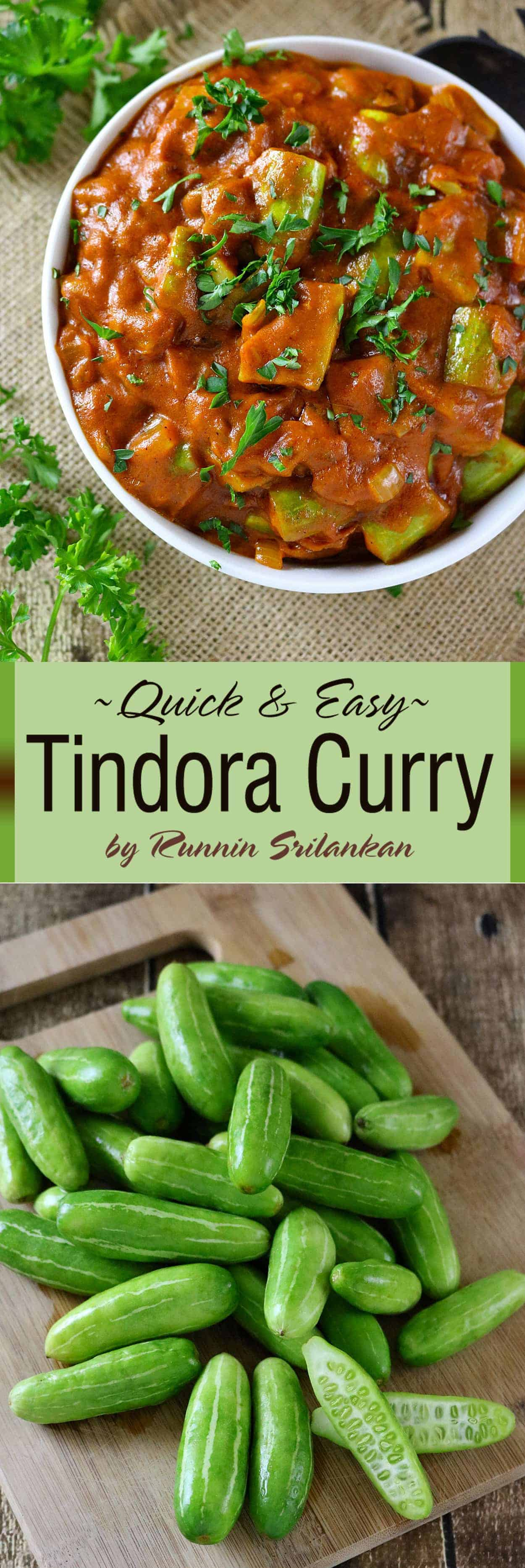 Tindora Curry - this curry is so creamy and smooth, it isn't spicy hot, but so full of flavor! You are so gonna wanna make this curry - because I KNOW you are gonna love it!