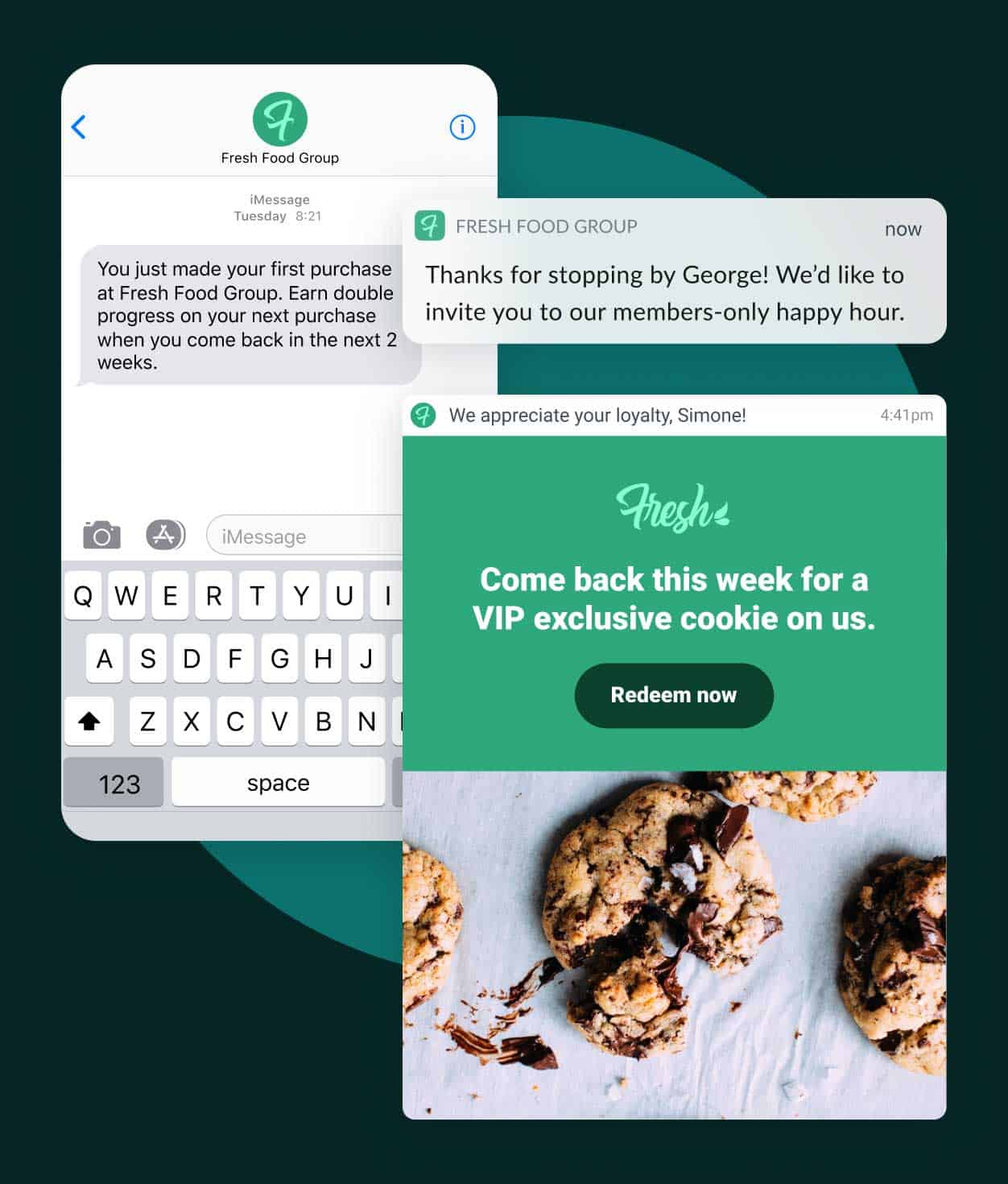 Ease of personalization examples including text and email