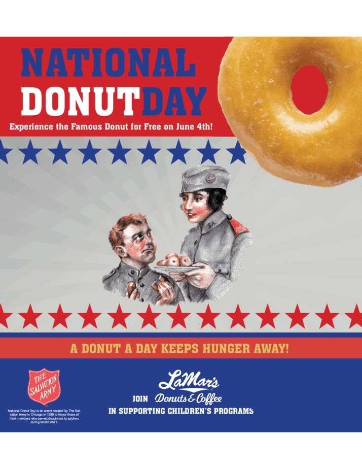 Vintage illustration of salvation army man and woman. Woman holding plate of donuts