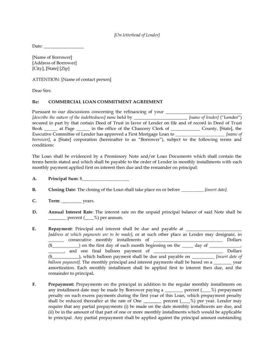 loan commitment letter example image