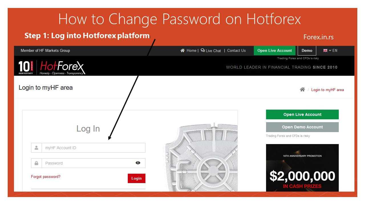 log into Hotforex account to change password of account