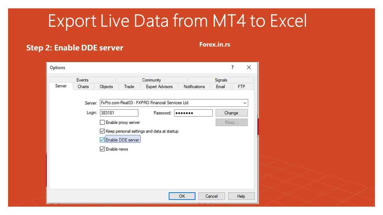 Enable DDE server in MT4