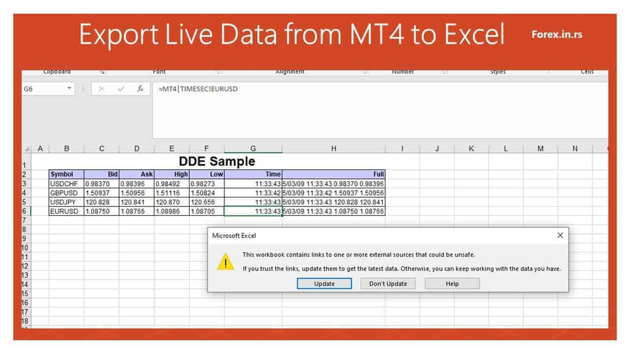 Open DDE sample Excel file