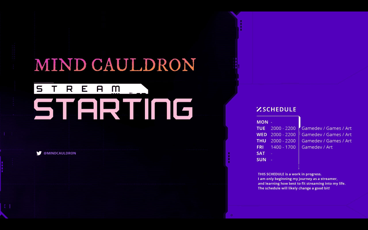 Mind Cauldron's Stream Starting scene on Twitch